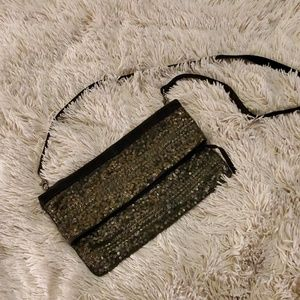 Beautiful suede Topshop purse w/ gold accents